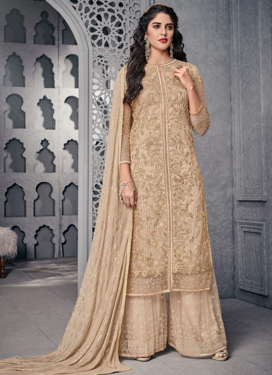 Catchy Net Designer Palazzo Suit For Wedding In Beige Color
