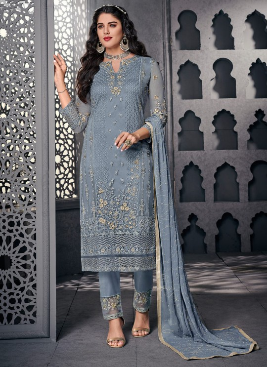 Splendid Net Designer Straight Cut Suit For Ceremony In Grey Color