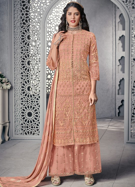 Savory Net Designer Palazzo Suit For Wedding In Peach Color