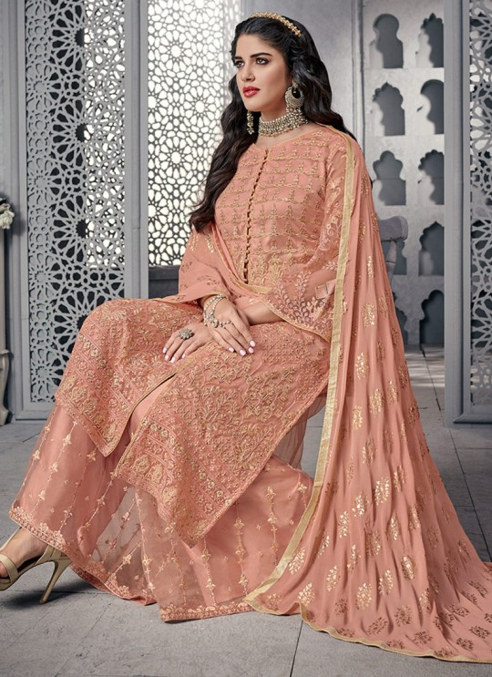 Fetching Net Designer Palazzo Suit For Wedding In Peach Color