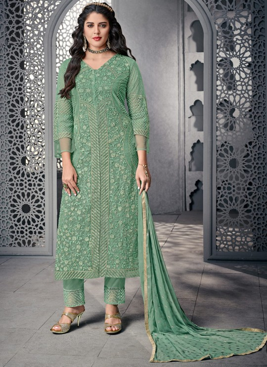Beautiful Net Designer Straight Cut Suit For Ceremony In Green Color