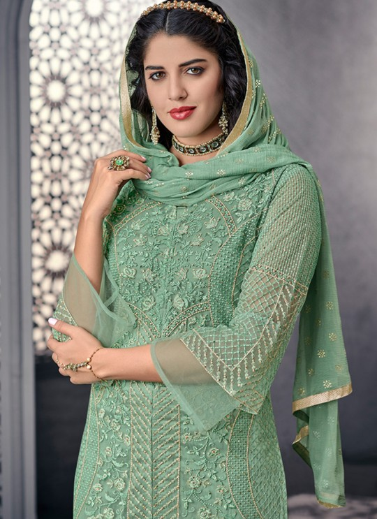 Bewitching Net Designer Straight Cut Suit For Ceremony In Green Color