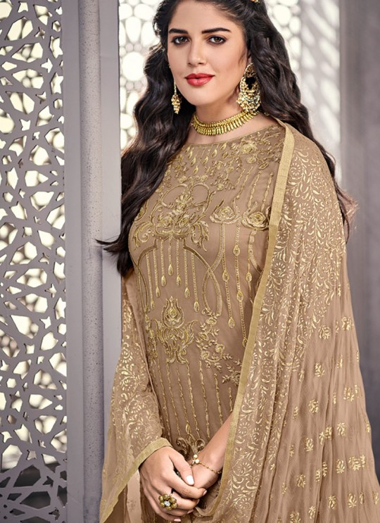 Charming Net Designer Straight Cut Suit For Ceremony In Beige Color