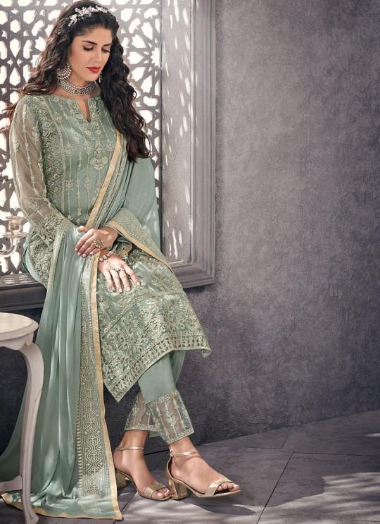Celestial Net Designer Straight Cut Suit For Ceremony In Green Color