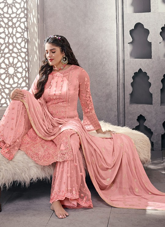 Pleasing Net Designer Palazzo Suit For Wedding In Pink Color