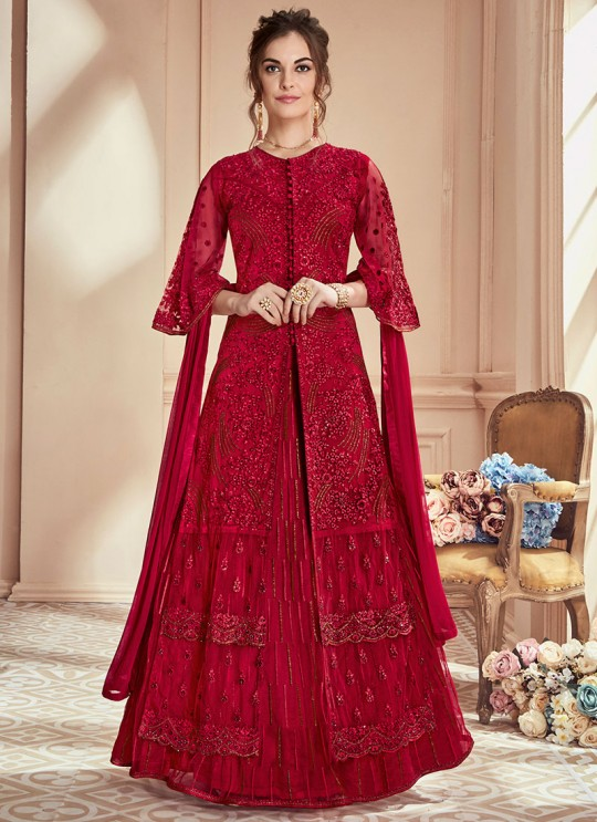 Maroon Net Embroidered Wedding Wear Skirt Kameez The Roal Shades 901 By Sybella Creation SC/015112