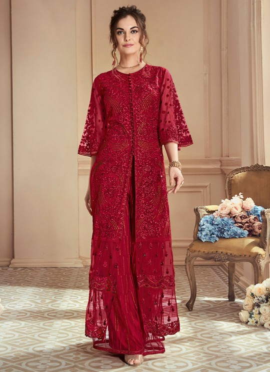 Maroon Net Embroidered Wedding Wear Skirt Kameez The Roal Shades 901 Set By Sybella Creation SC/015120