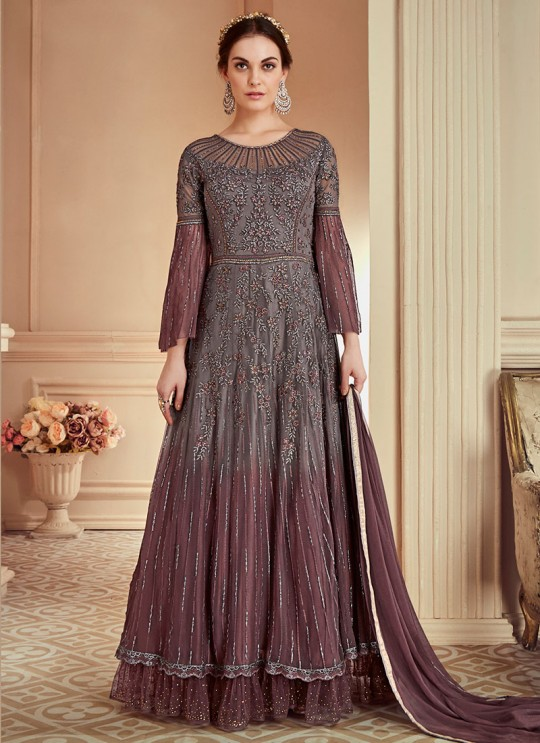 Grey Net Embroidered Wedding Wear Floor Length Anarkali The Roal Shades 902 By Sybella Creation SC/015113