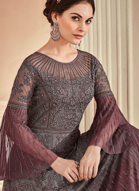 Grey Net Embroidered Wedding Wear Floor Length Anarkali The Roal Shades 902 Set By Sybella Creation SC/015120