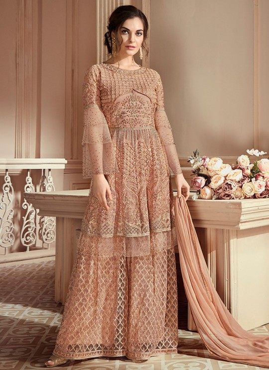 Peach Net Embroidered Wedding Wear Palazzo Suit The Roal Shades 903 Set By Sybella Creation SC/015120