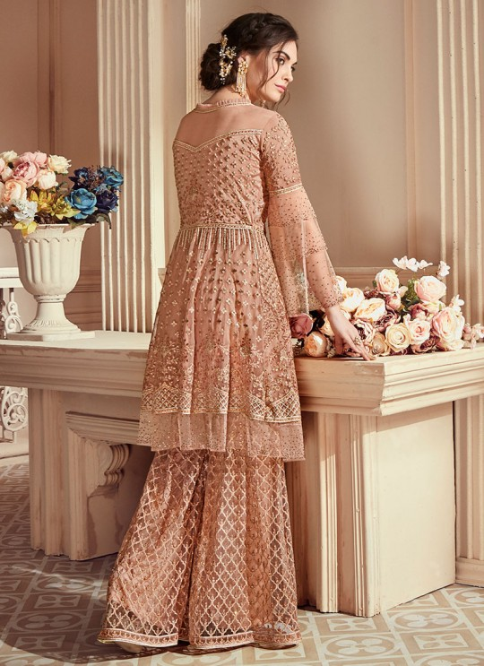 Peach Net Embroidered Wedding Wear Palazzo Suit The Roal Shades 903 By Sybella Creation SC/015114