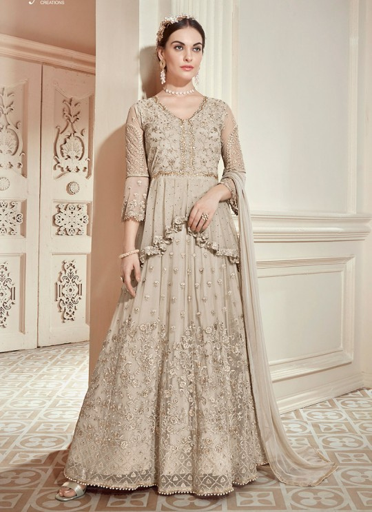 Beige Net Embroidered Wedding Wear Floor Length Anarkali The Roal Shades 905 By Sybella Creation SC/015116