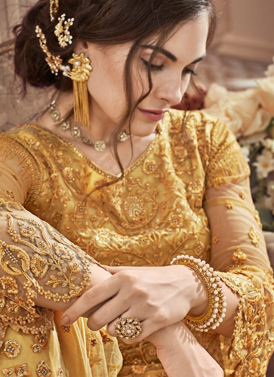 Yellow Net Embroidered Wedding Wear Palazzo Suit The Roal Shades 906 Set By Sybella Creation SC/015120