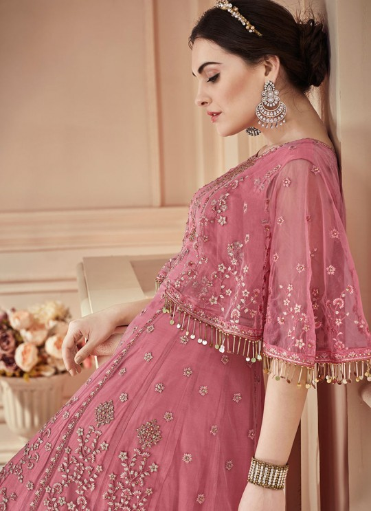 Pink Net Embroidered Wedding Wear Floor Length Anarkali The Roal Shades 907 By Sybella Creation SC/015118