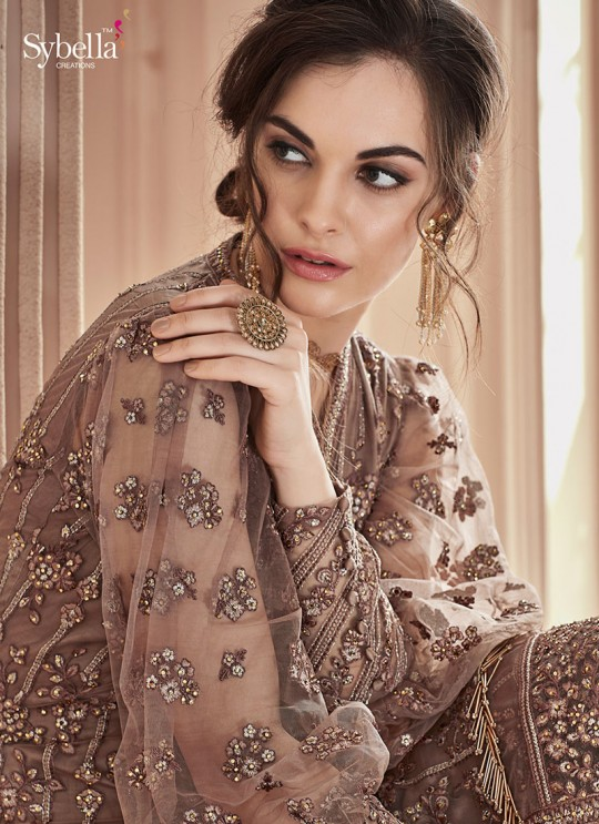 Brown Net Embroidered Wedding Wear Palazzo Suit The Roal Shades 908 By Sybella Creation SC/015119