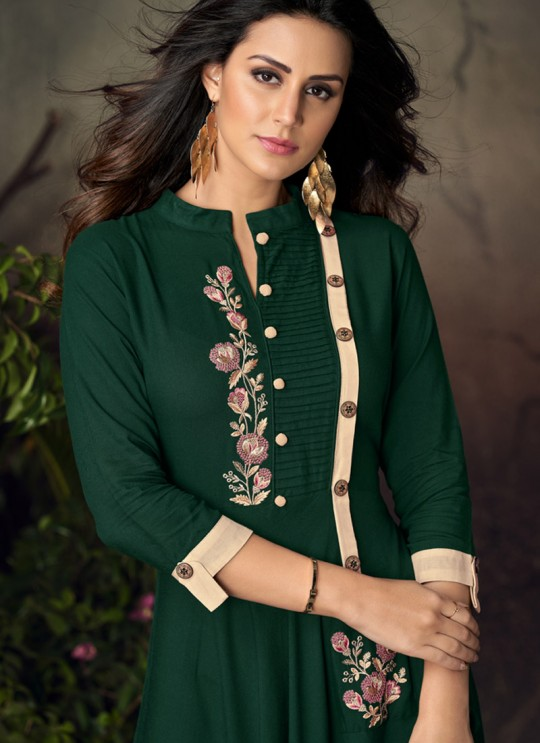 Green Rayon Office Wear Designer Kurti 6012 By Vardan