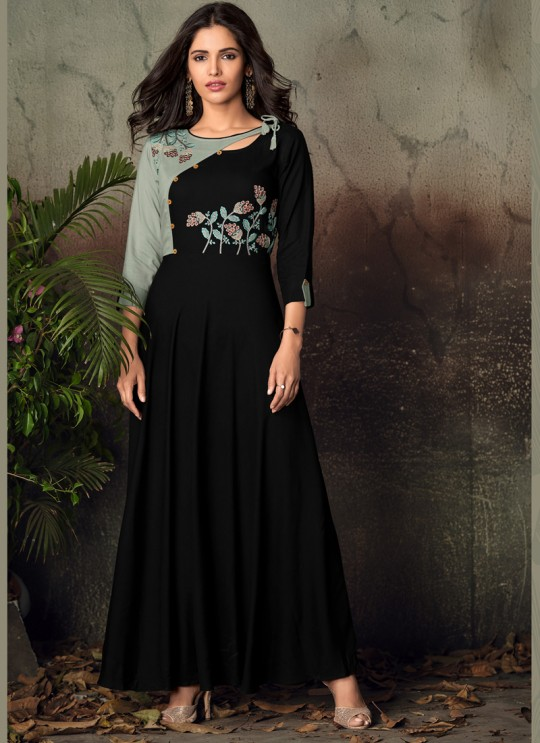 Black Rayon Office Wear Designer Kurti 6013 By Vardan