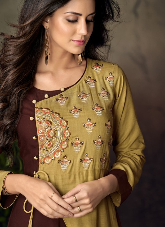 Multicolor Rayon Office Wear Designer Kurti 6014 By Vardan