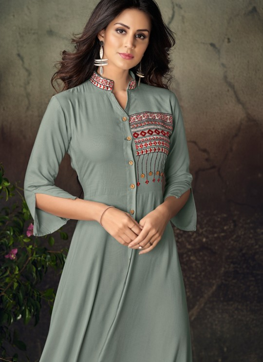 Grey Rayon Office Wear Designer Kurti 6017 By Vardan