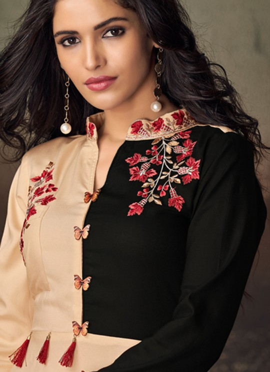 Cream Rayon Office Wear Designer Kurti 6018 By Vardan