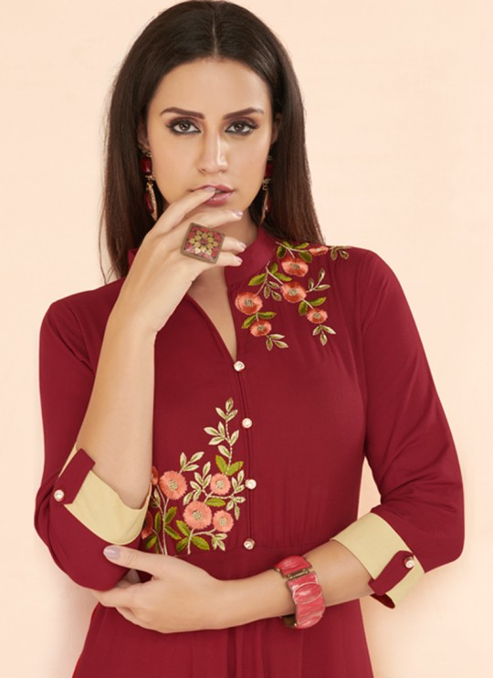 Maroon Rayon Party Wear Designer Kurti 6023 By Vardan