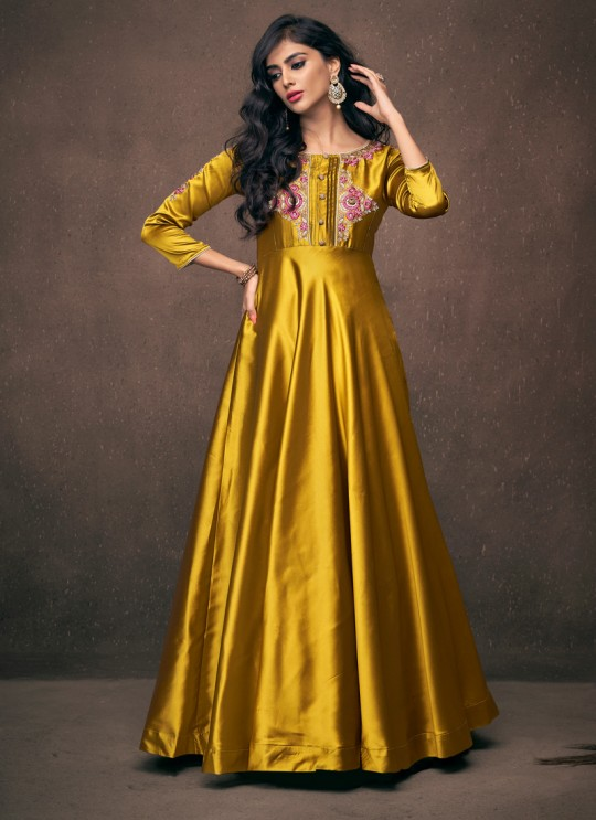 Gold Satin Silk Ready Made Gown For Bridesmaids 191 By Vardan