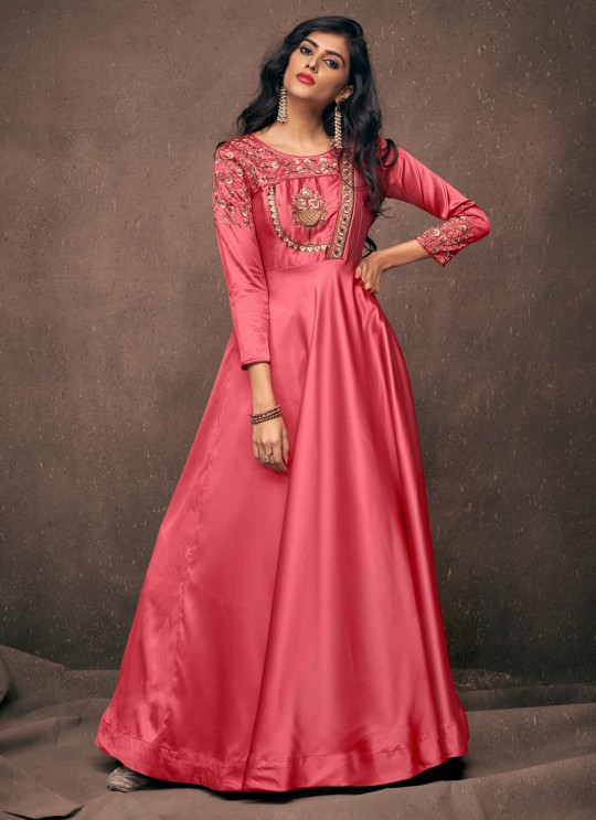 Pink Satin Silk Ready Made Gown For Bridesmaids 192 By Vardan
