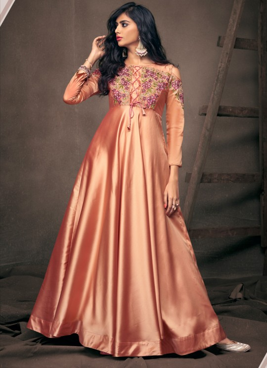 Peach Satin Silk Ready Made Gown For Bridesmaids 193 By Vardan