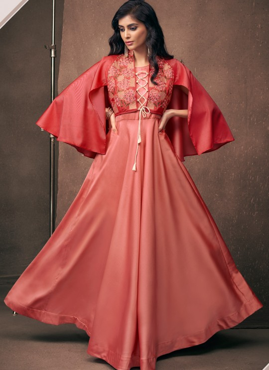 Pink Satin Silk Contemporary Ready Made Gown 1201 By Vardan