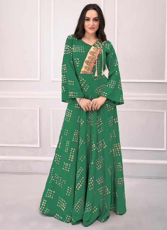 Green Rayon Festival Wear Ready Made Gown 1106 By Vardan