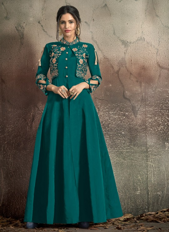 Green Tapeta Silk Ready Made Gown For Bridesmaids Gold 1406B By Vardan