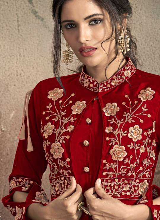 Red Tapeta Silk Ready Made Gown For Bridesmaids Gold 1406C By Vardan