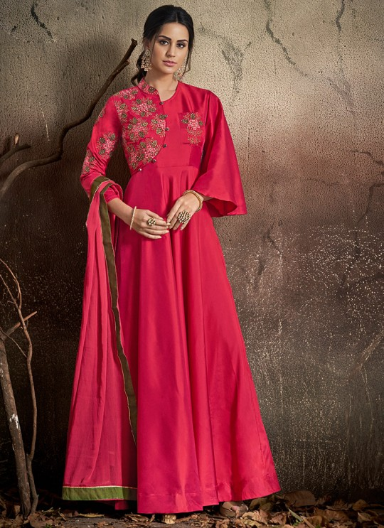 Pink Tapeta Silk Evening Ready Made Three Piece Gown 1401 By Vardan