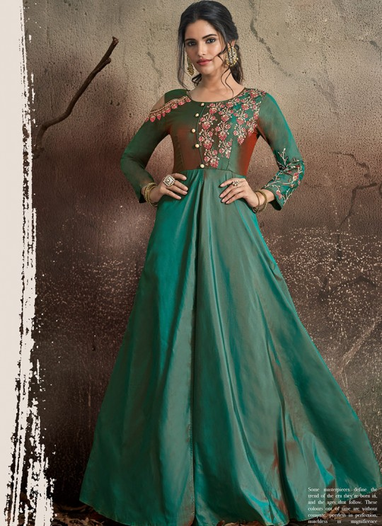 Green Tapeta Silk Evening Ready Made Three Piece Gown 1402 By Vardan