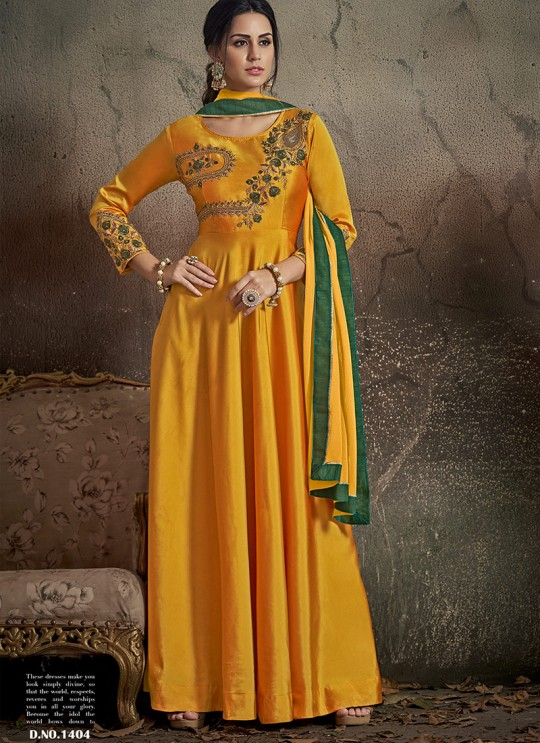 Yellow Tapeta Silk Ready Made Gown For Haldi Ceremony 1404 By Vardan