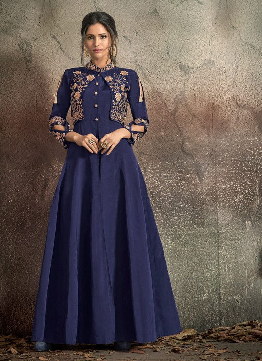 Blue Tapeta Silk Evening Ready Made Three Piece Gown 1406 By Vardan