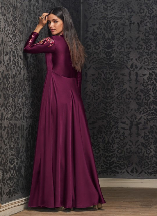Magenta Faux Georgette Gown For Bridesmaids 1501 By Vardan