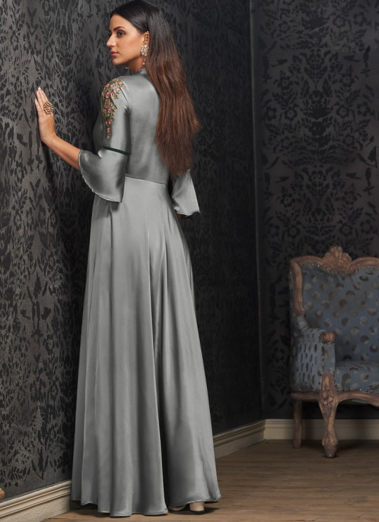 Grey Faux Georgette Gown For Bridesmaids 1502 By Vardan