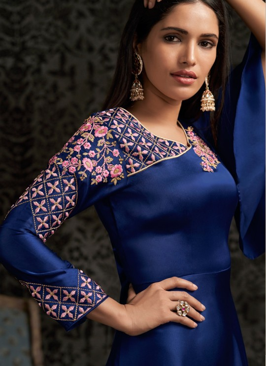 Blue Faux Georgette For Bridesmaids 1503 By Vardan