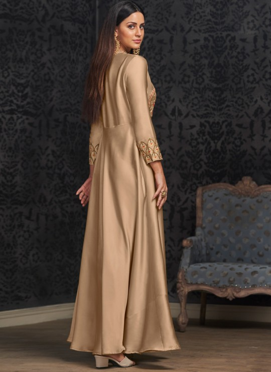 Beige Faux Georgette Gown For Bridesmaids 1504 By Vardan