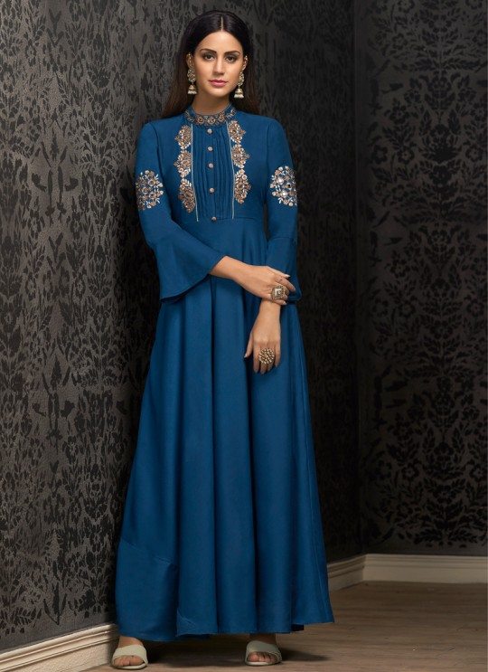 Blue Muslin Ready Made Gown For Mehandi Ceremony 1601 By Vardan