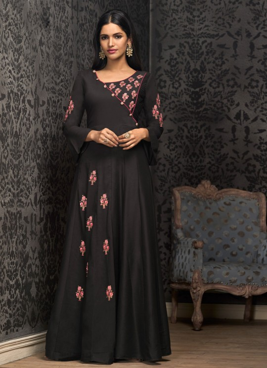 Black Muslin Ready Made Gown For Mehandi Ceremony 1602 By Vardan