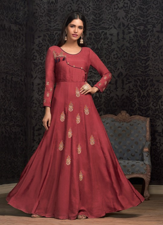 Red Muslin Ready Made Gown For Mehandi Ceremony 1603 By Vardan