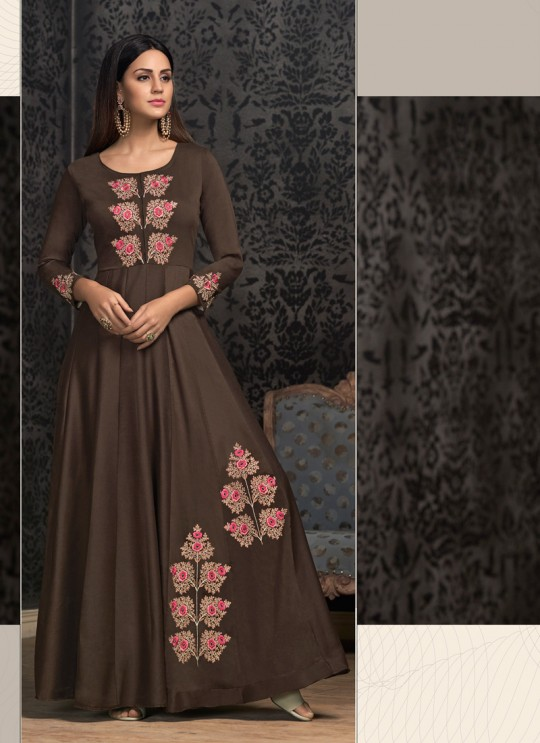Brown Muslin Ready Made Gown For Mehandi Ceremony 1604 By Vardan