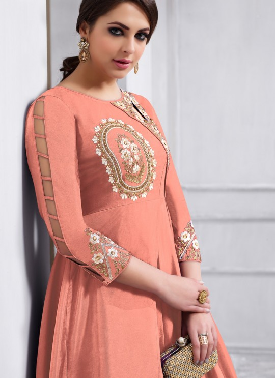 Tapeta Silk Party Wear Anarkali Suit in Peach Color 158C By Vardan