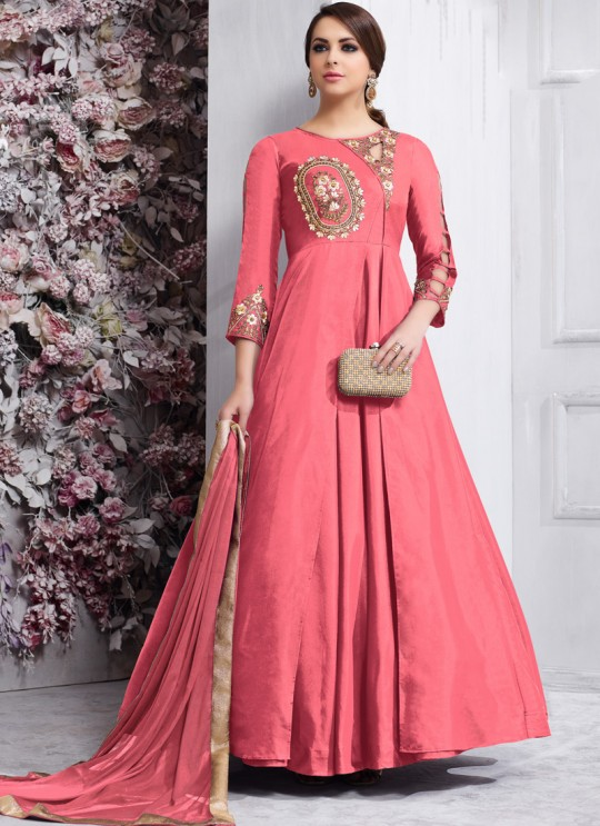 Pink Tapeta Silk Party Wear Ready Made Anarkali Suit 158E By Vardan