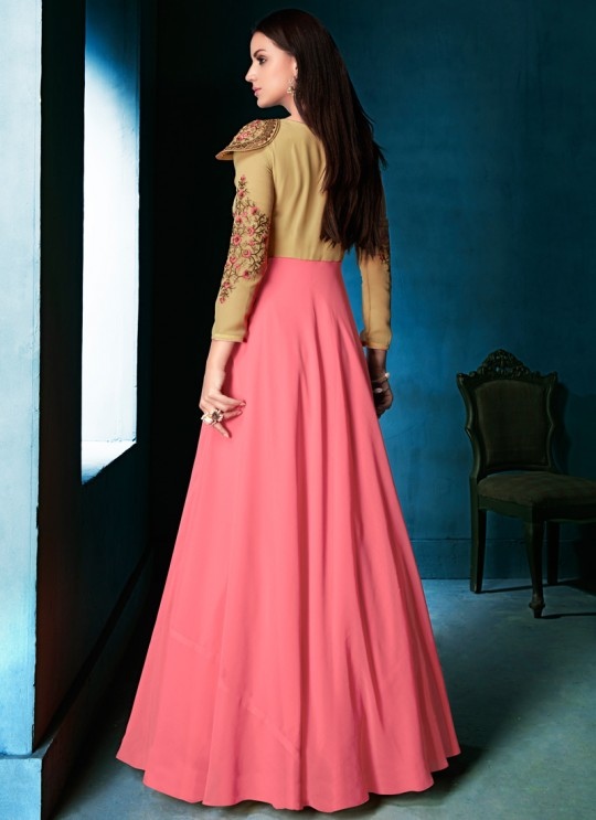 Pink Faux Georgette Party Wear Ready Made Gown Style Anarkali 167 By Vardan