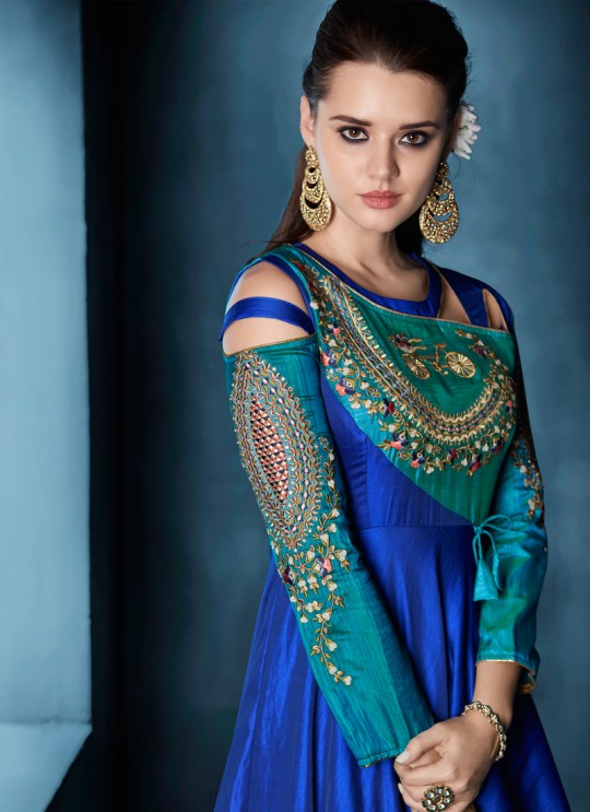 Blue Tapeta Silk Party Wear Ready Made Three Piece Gown 175 By Vardan