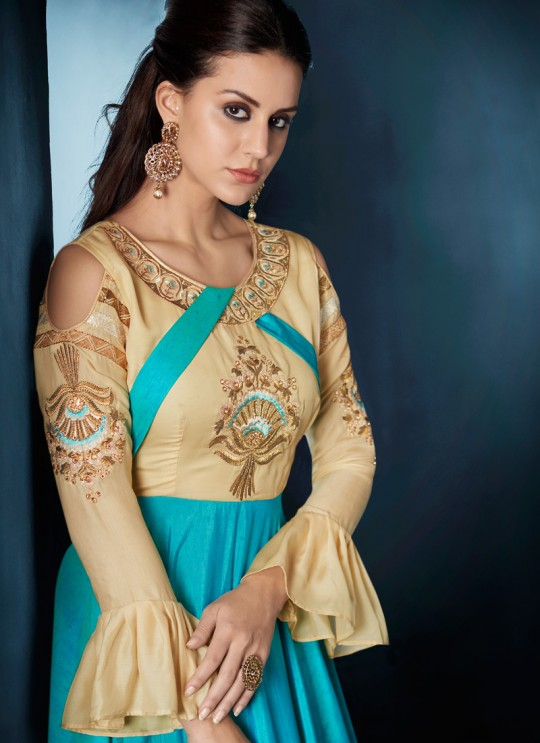 Turquoise Tapeta Silk Party Wear Ready Made Gown 176 By Vardan