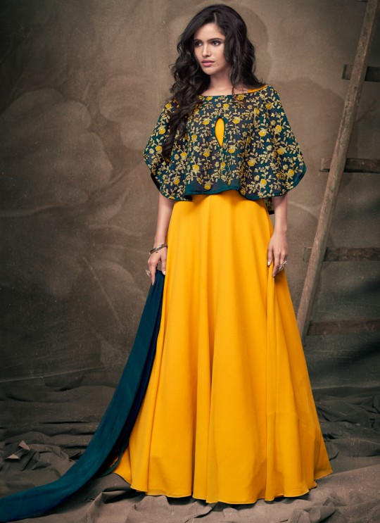 Yellow Tapeta Silk Evening Ready Made Gown 182 By Vardan